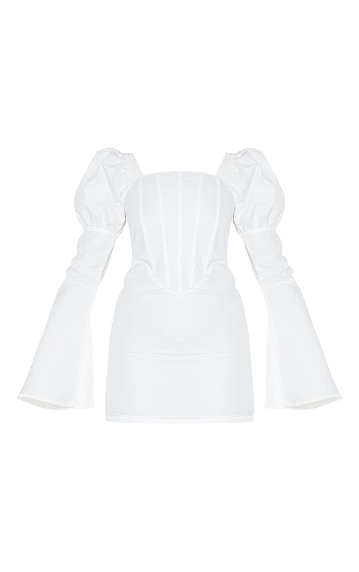 White Bell Sleeve Corset Detail Long Sleeve Bodycon Dress 5