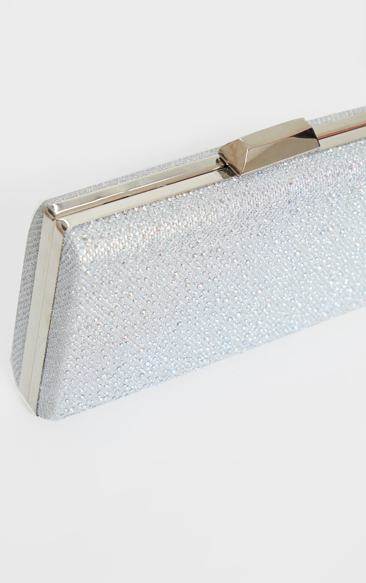 Silver Glitter Metal Frame Clutch Bag 3