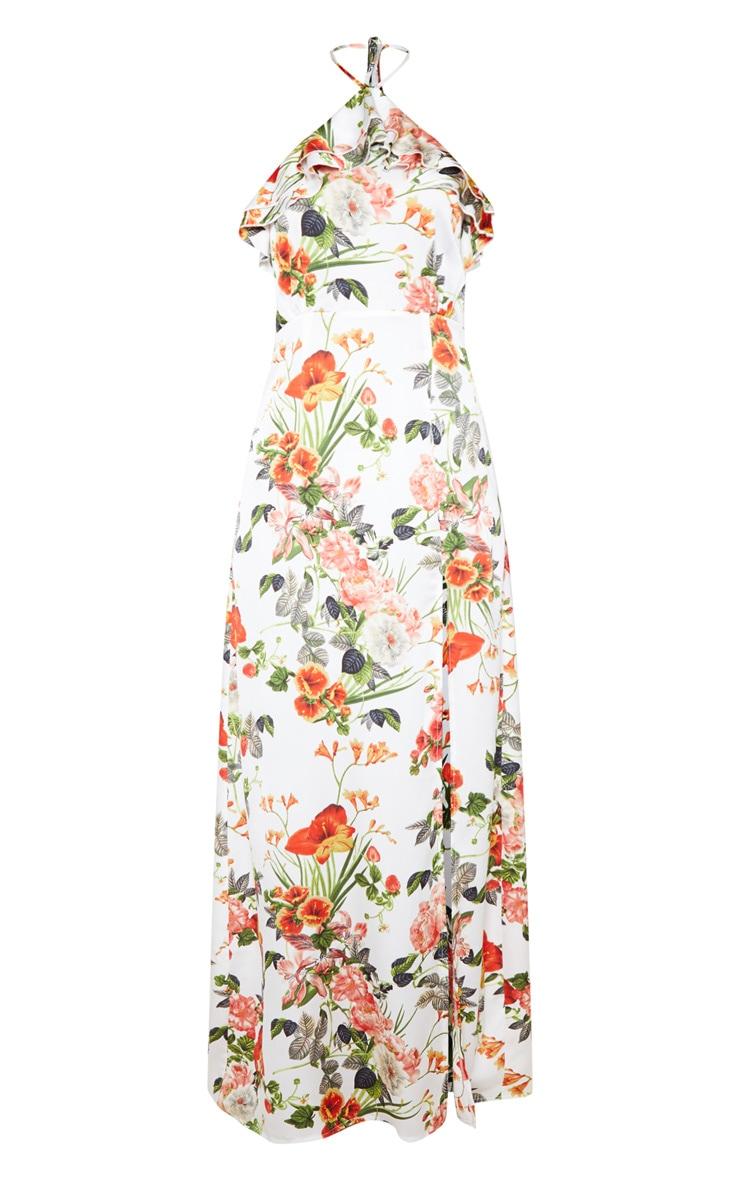 White Floral Print Ruffle Halterneck Maxi Dress 3