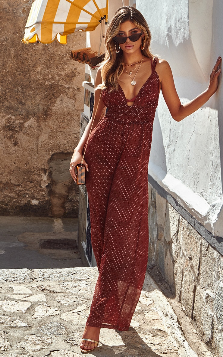 Chocolate All Over Studded Beach Jumpsuit