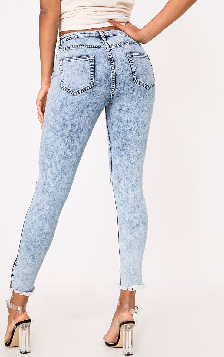 Acid Wash Distress Skinny Jean 4