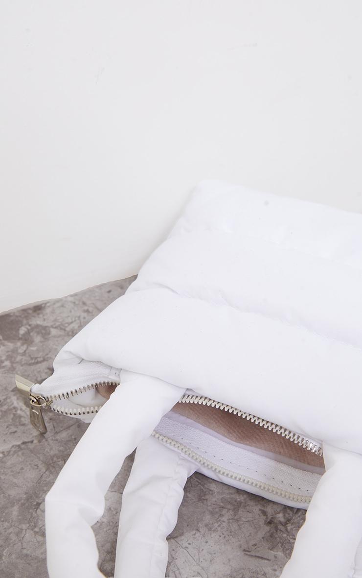White Mini Quilted Nylon Tote Bag 4