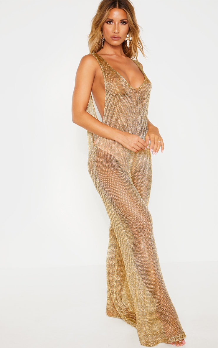Gold Metallic Knitted Jumpsuit 4
