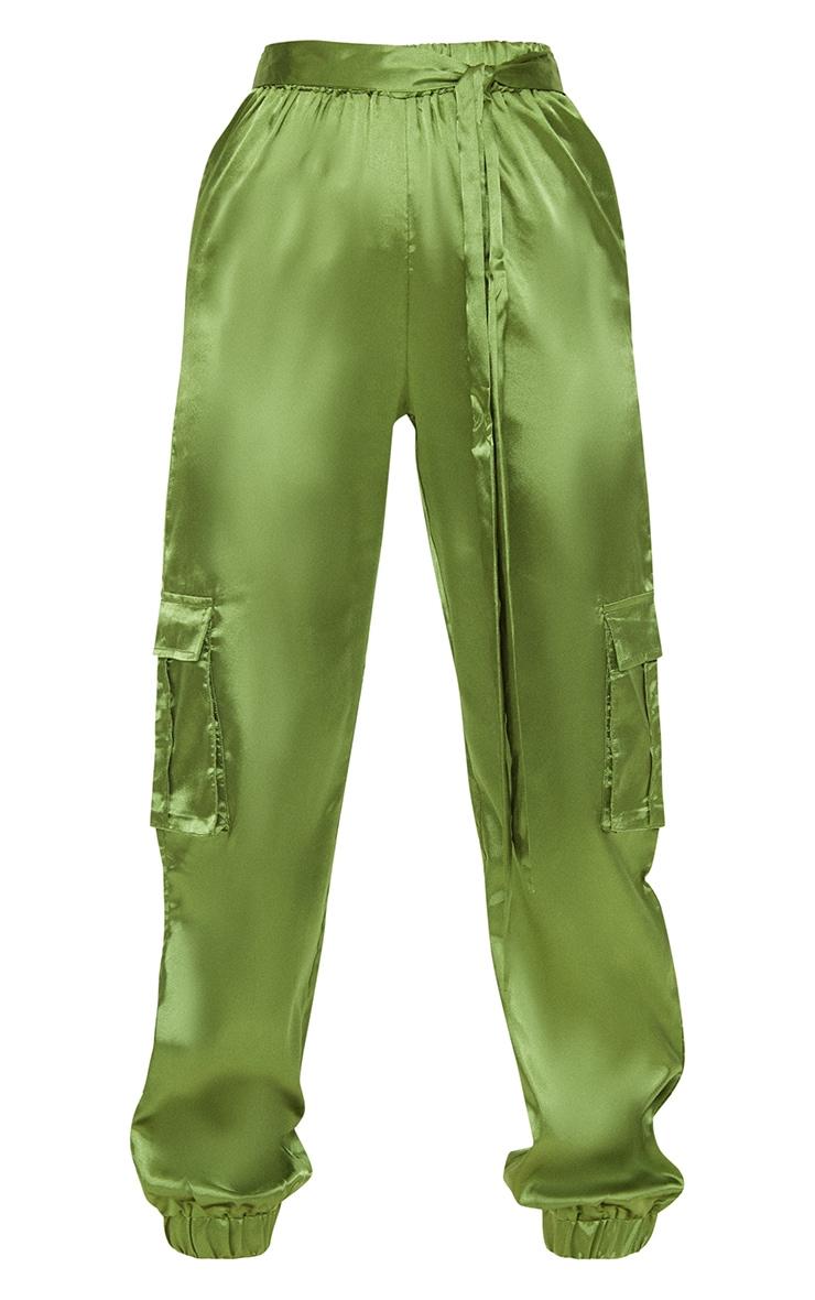 Petite Olive Satin Cargo Trousers 3
