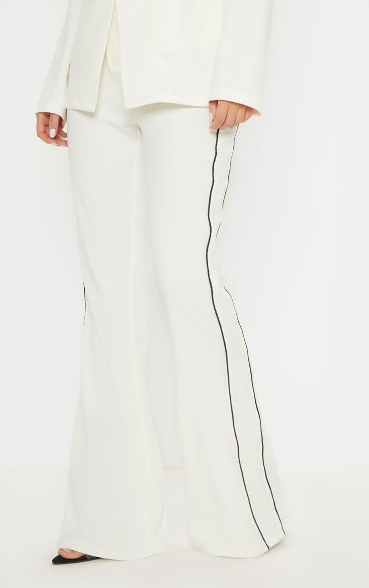Cream Contrast Trim Flared Trouser 2