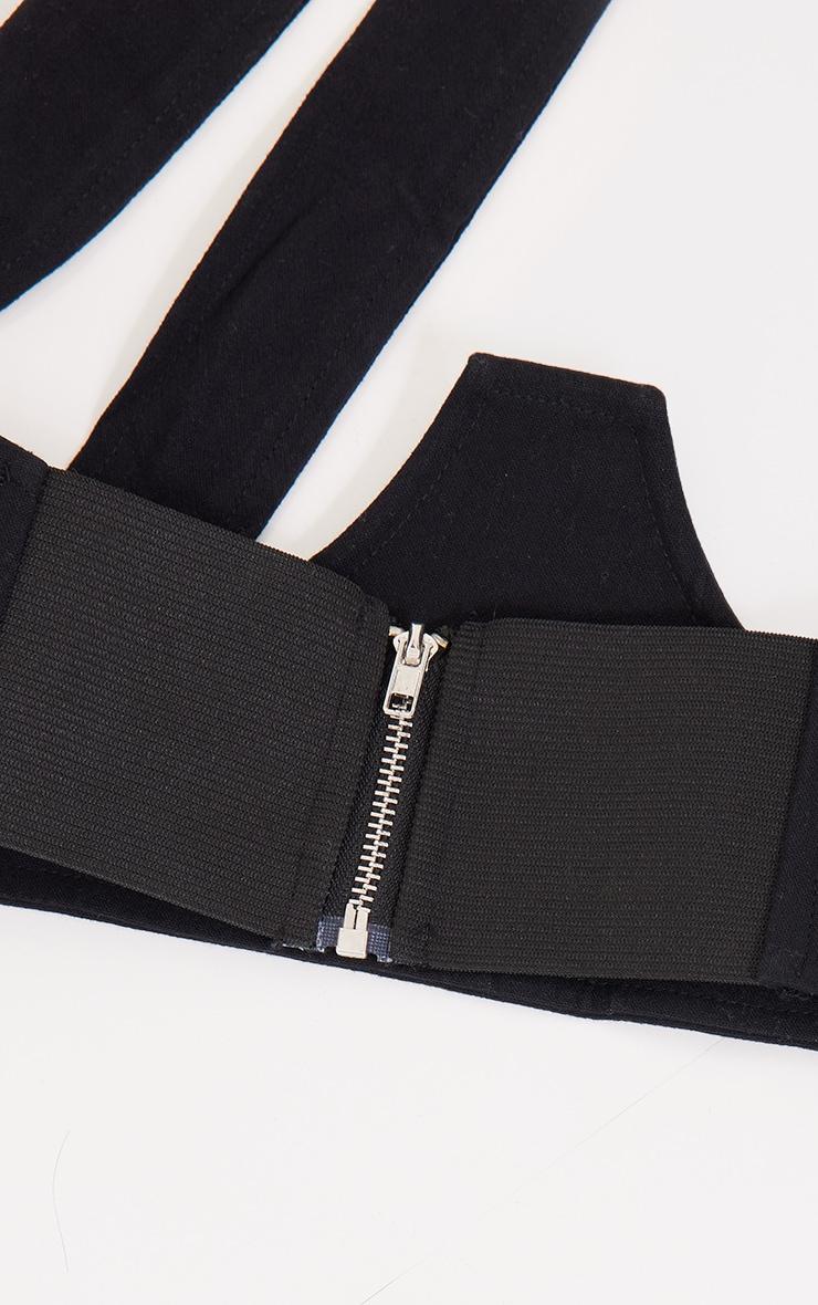 Black Linen Look Halter Neck Corset Belt 3