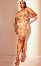 Plus Multi Statue Print Mesh Bodycon Dress 3