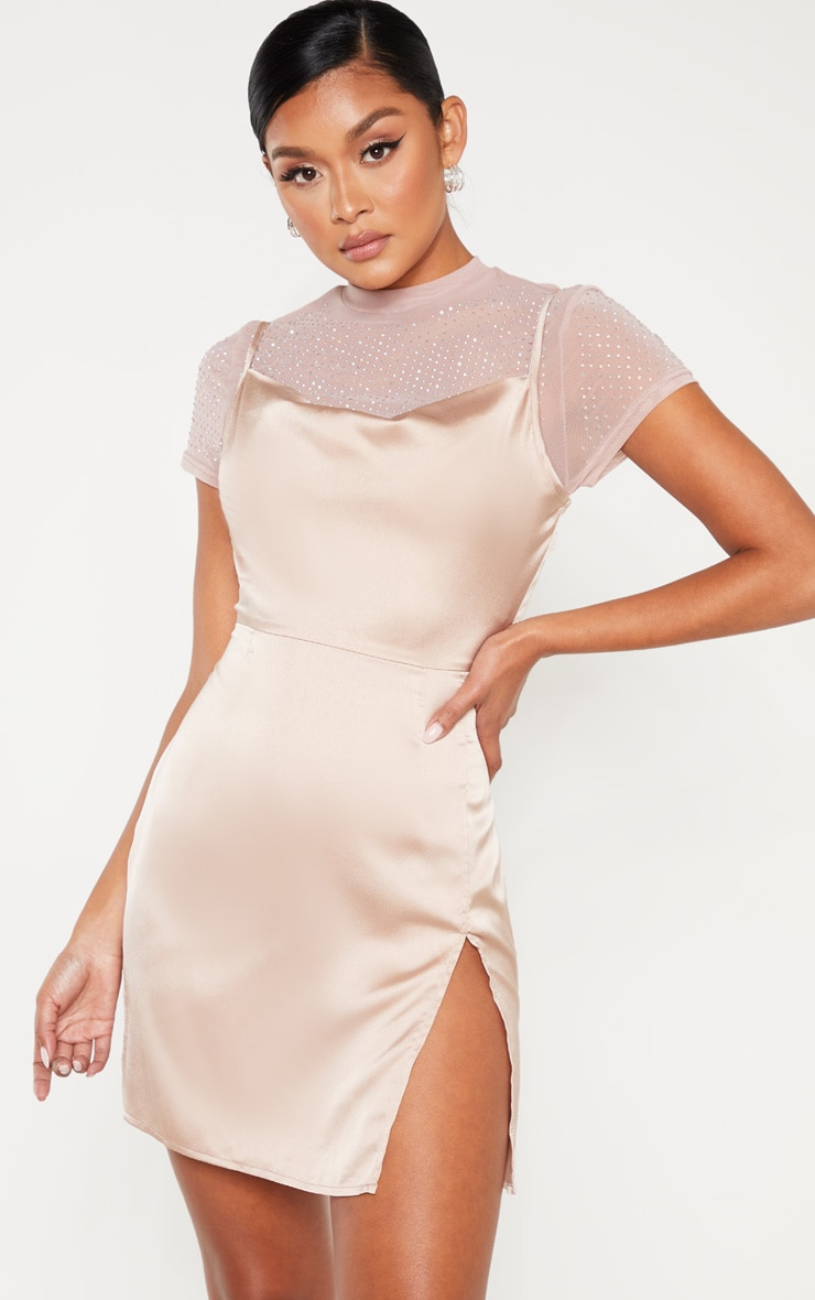 Rose Satin Cowl Mesh Diamante 2 in 1 Bodycon Dress  1