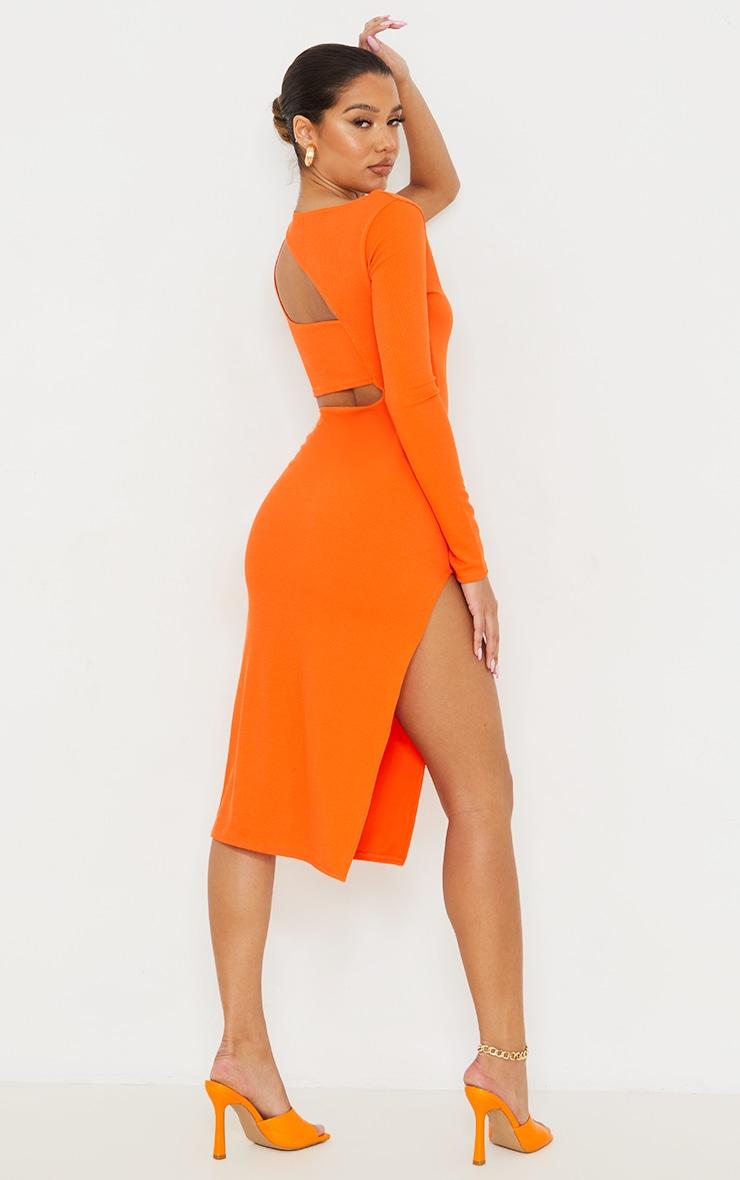 Orange Ribbed One Shoulder Cut Out Detail Midi Dress 2