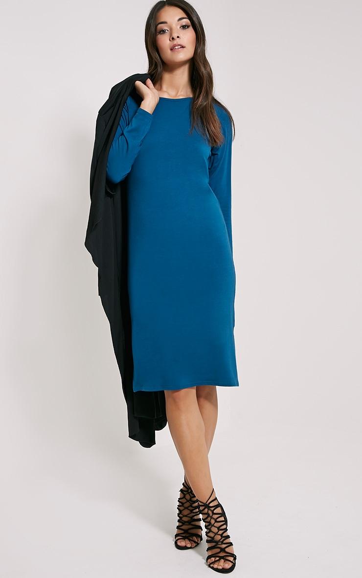 Jean Teal Long Sleeve Jersey Midi Dress 3
