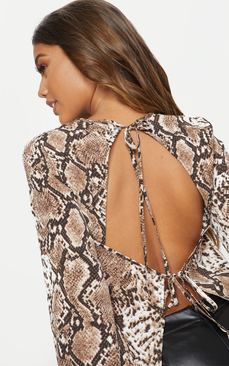 Stone Snake Print Backless Blouse 5