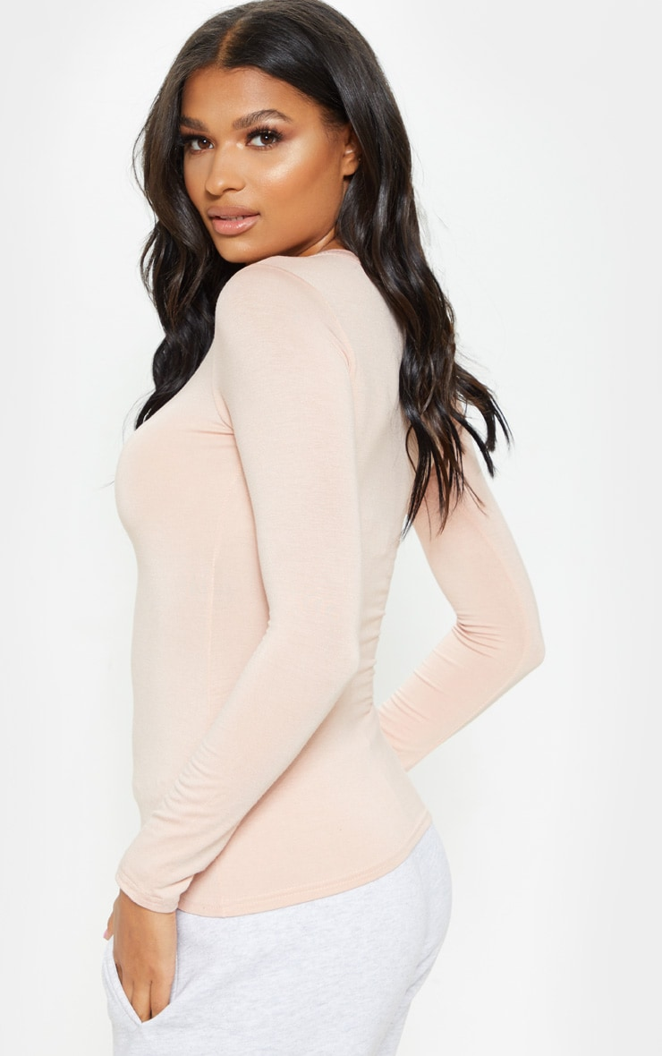 Nude Basic Longsleeve Fitted T Shirt  2