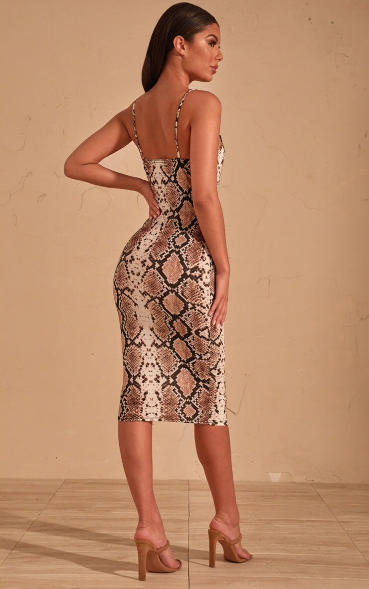 Beige Snake Print Strappy Midi Dress 3
