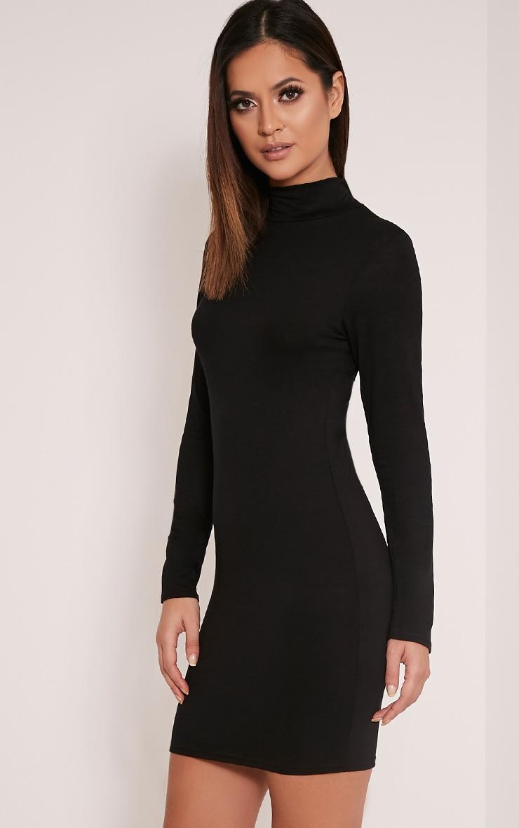 Basic Black Long Sleeve Bodycon Dress 5