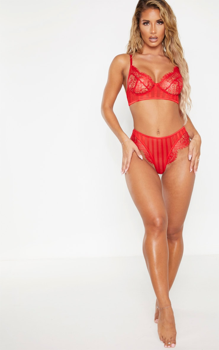 Red Striped Lace Bralette 4