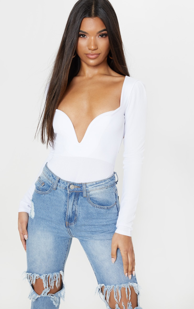White Long Sleeve Plunge Bodysuit 1