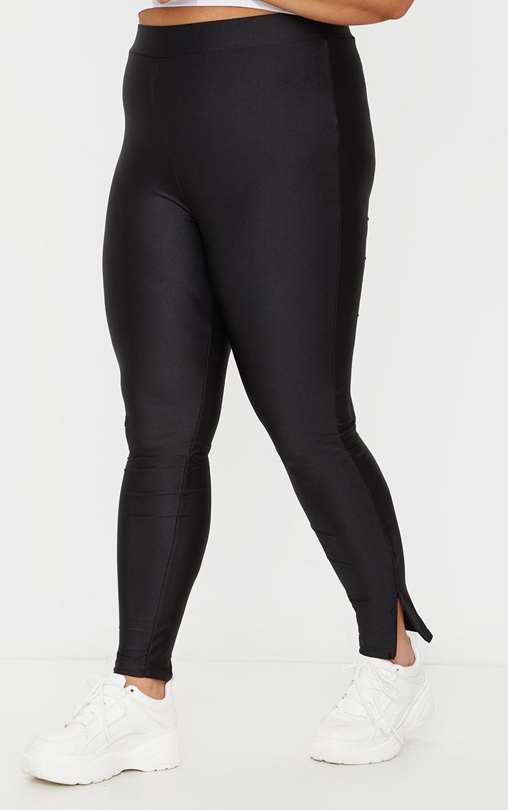 Plus Black Zip Hem Disco Leggings 2