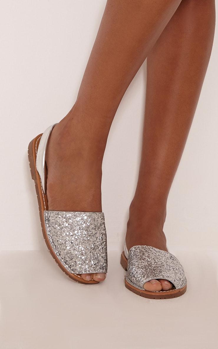 Luciana Silver Glitter Sandals 1