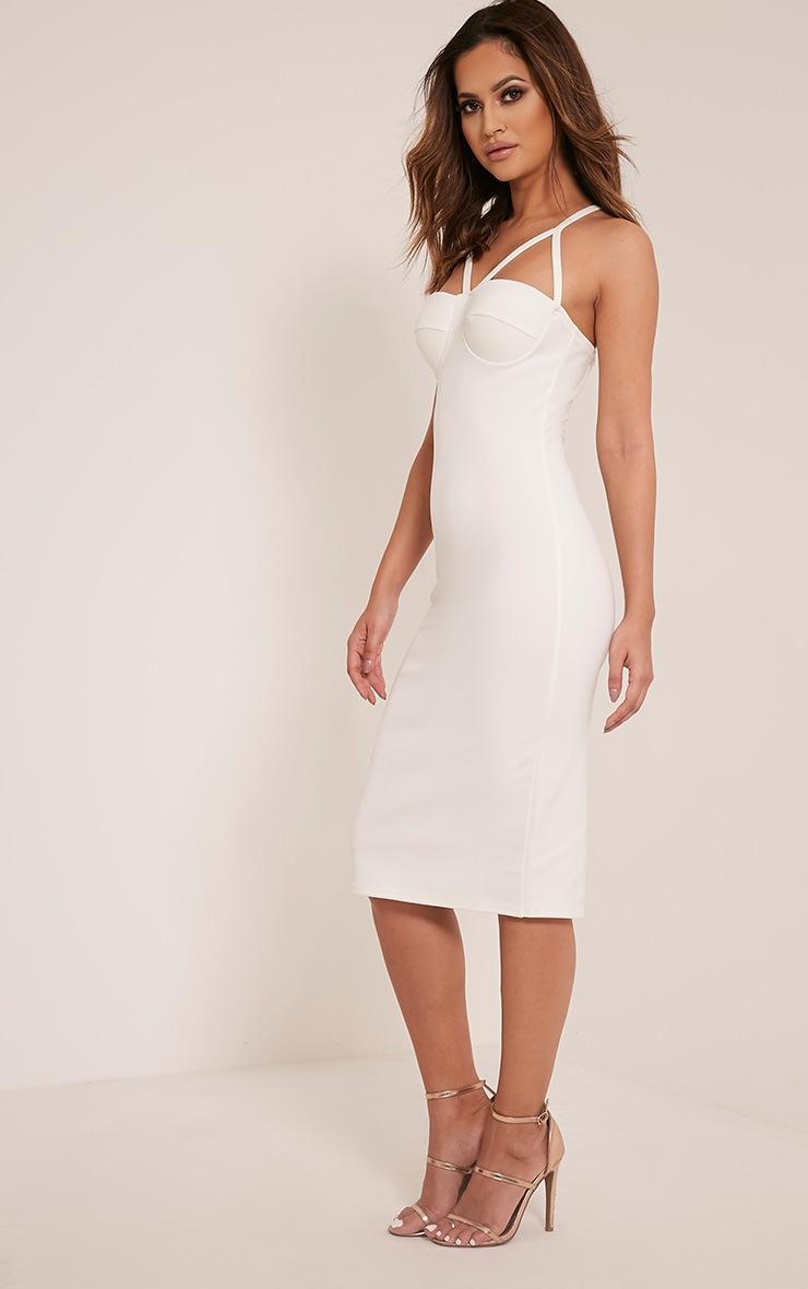 Phiona Cream Crepe Harness Detail Midi Dress 3