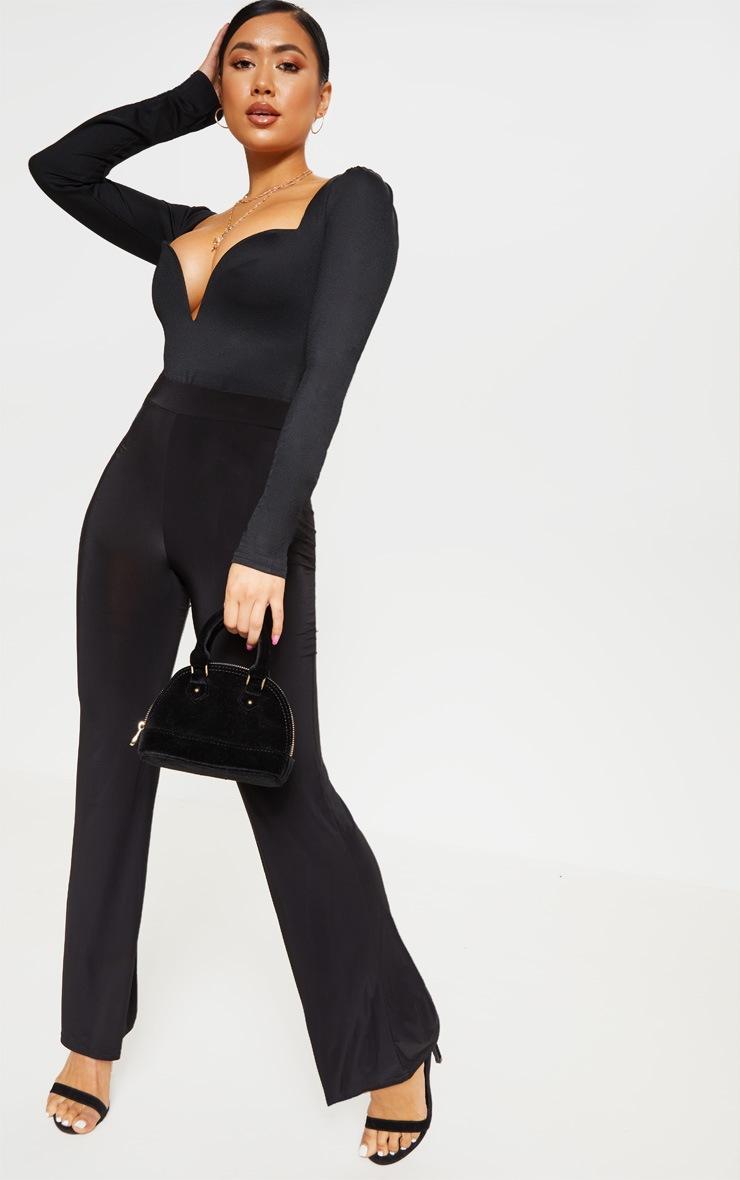 Petite Black Long Sleeve Plunge Bodysuit 5