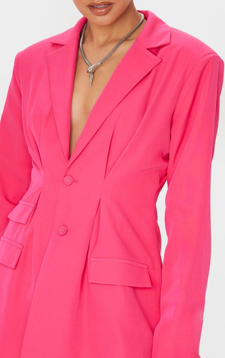 Hot Pink Woven Cinched Waist Shoulder Padded Blazer 5