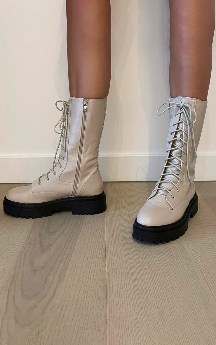 Cream Calf High Lace Up Chunky Biker Boots 2