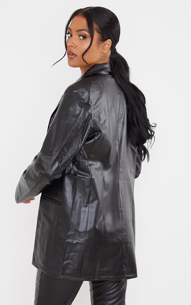 Tall Black Faux Leather Blazer 2