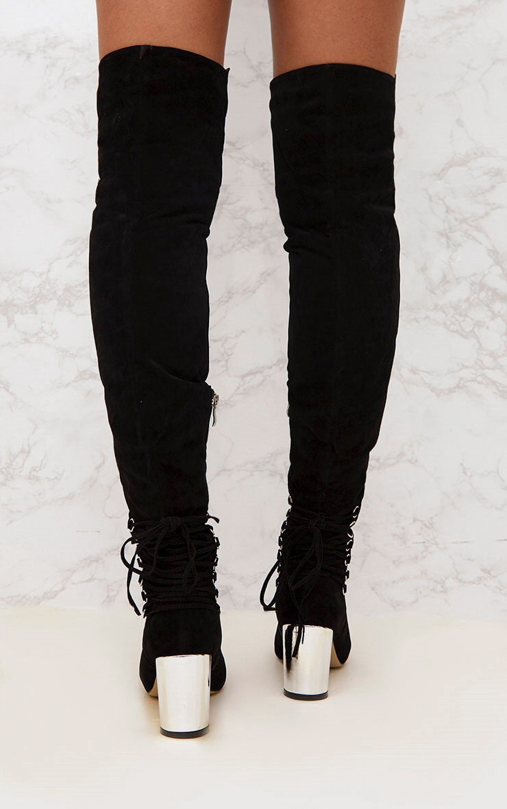 Black Lace Up Detail Faux Suede Thigh High Boots 4