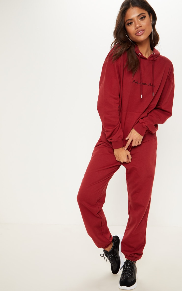 PRETTYLITTLETHING Burgundy Embroidered Oversized Hoodie 4