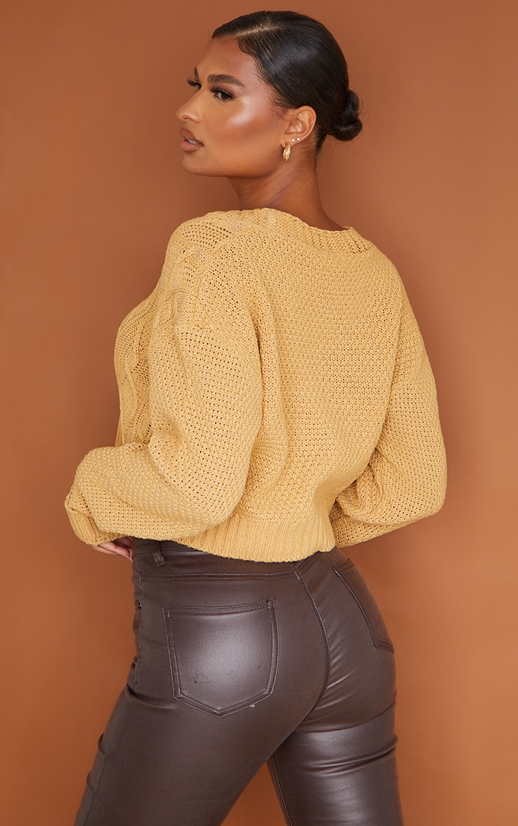 Camel Cable Cropped Cardigan 2