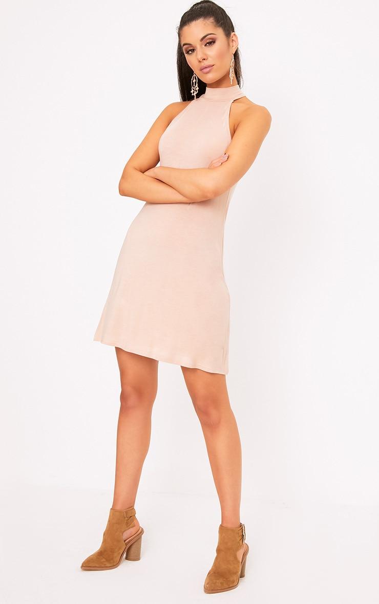 Nude Jersey High Neck Swing Dress 4