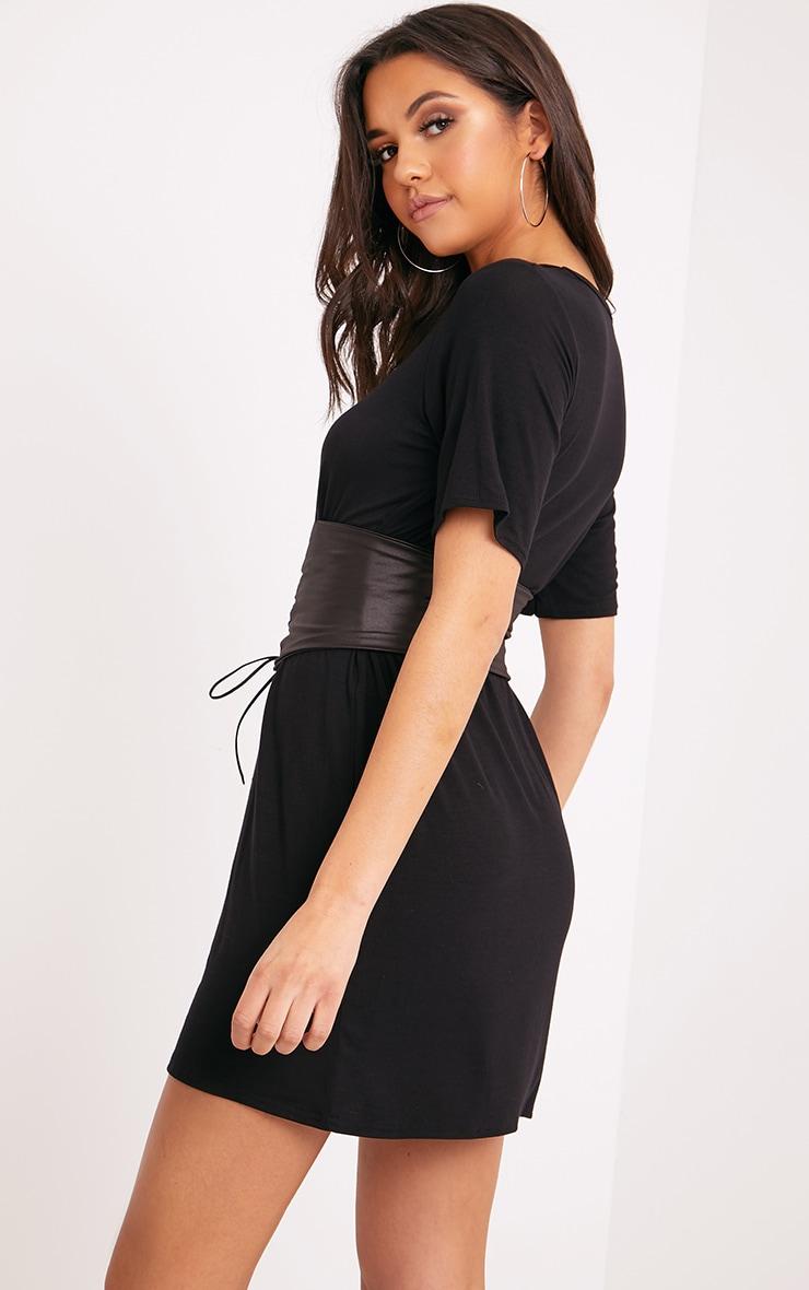 Reanna Black Corset T Shirt Dress  2