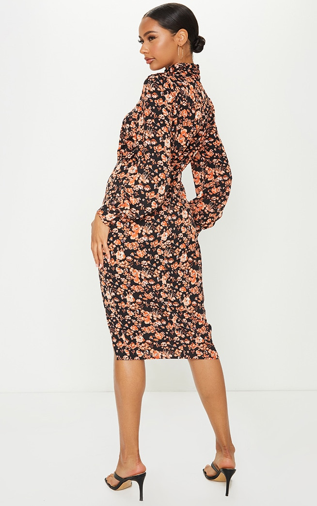 Black Floral Print High Neck Keyhole Midi Dress 2