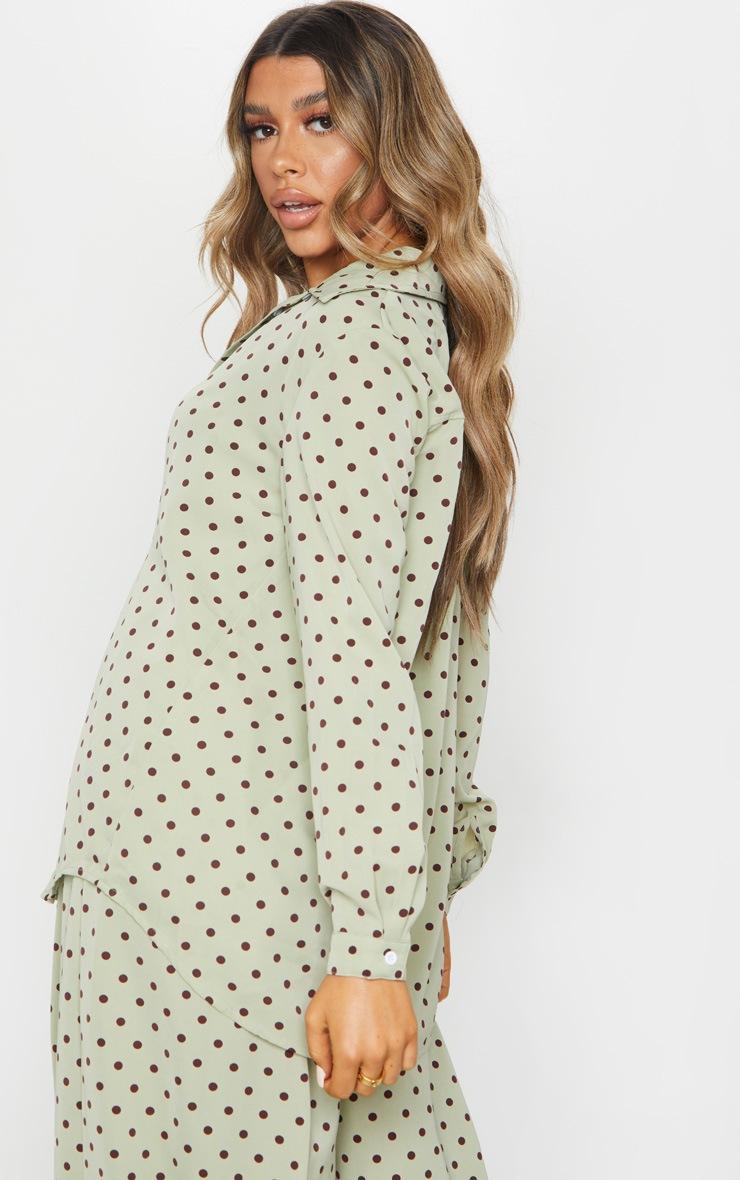 Sage Green Polka Dot Printed Oversized Shirt 2