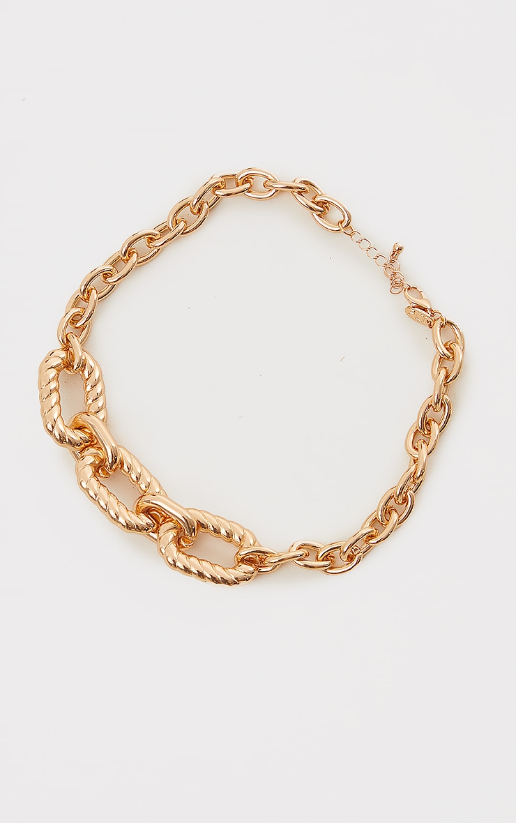 Gold Chunky Oversized Round Ribbed Chain Necklace 3