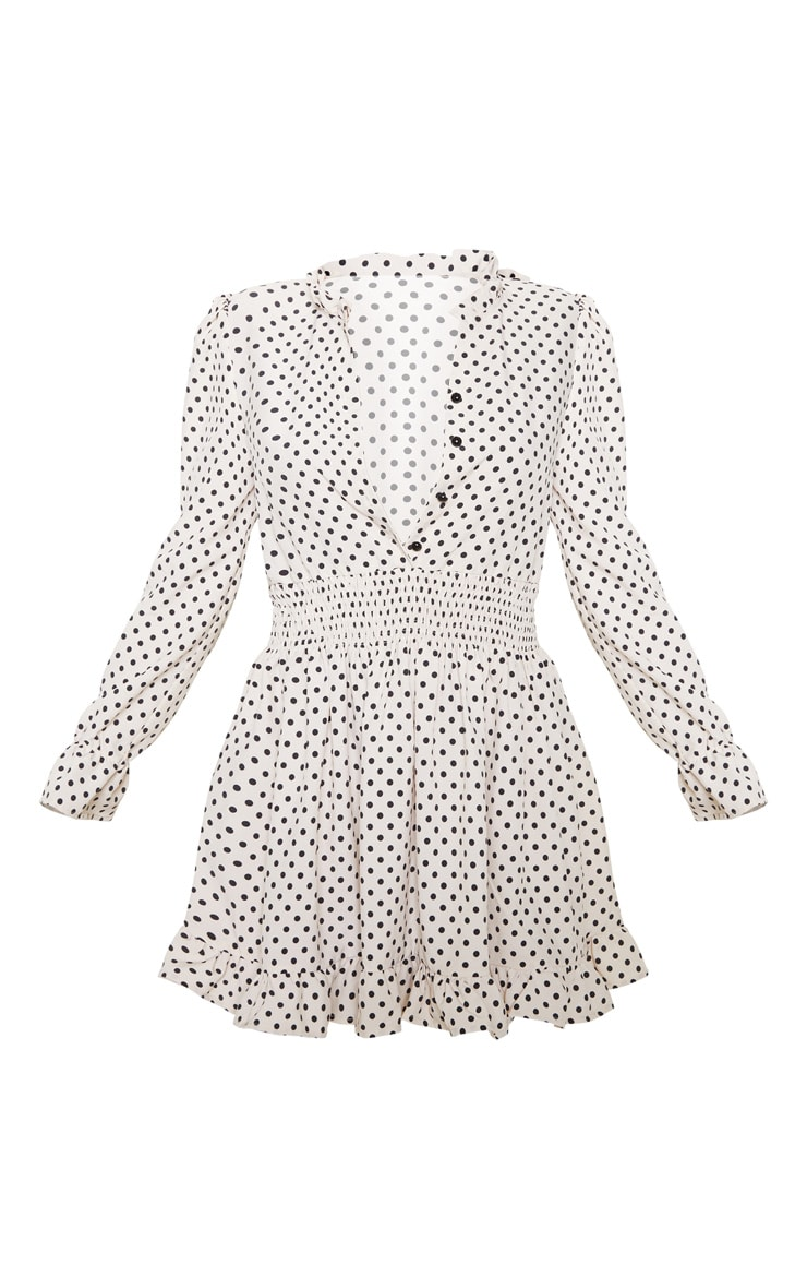 Stone Polka Dot Shirred Waist Shirt Dress 1