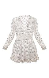 Stone Polka Dot Shirred Waist Shirt Dress 1