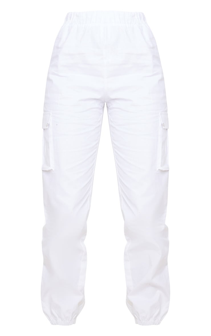 White Pocket Detail Cargo Pants 5