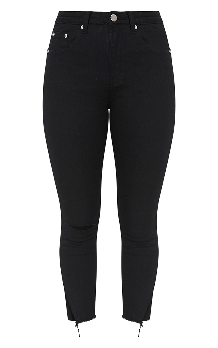 Black Split Hem Detail Skinny Jean 3