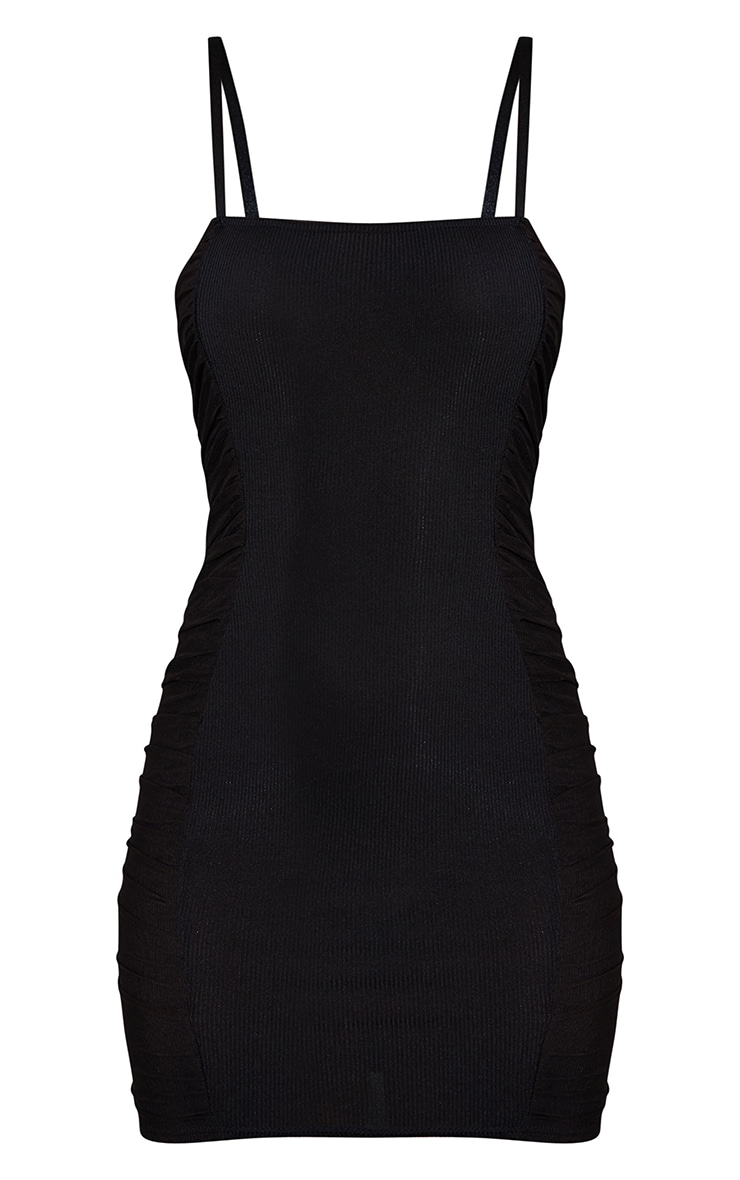 Black Ribbed Mesh Ruched Side Panel Bodycon Dress 5