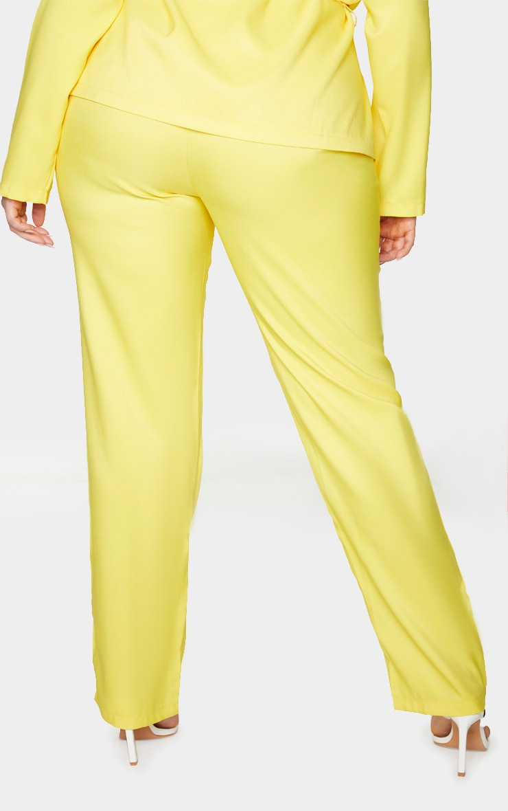 Plus Bright Yellow Tapered Straight Leg Pants 3