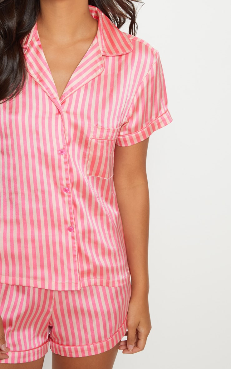 Pink Stripe Button Up Short Pyjama Set 6
