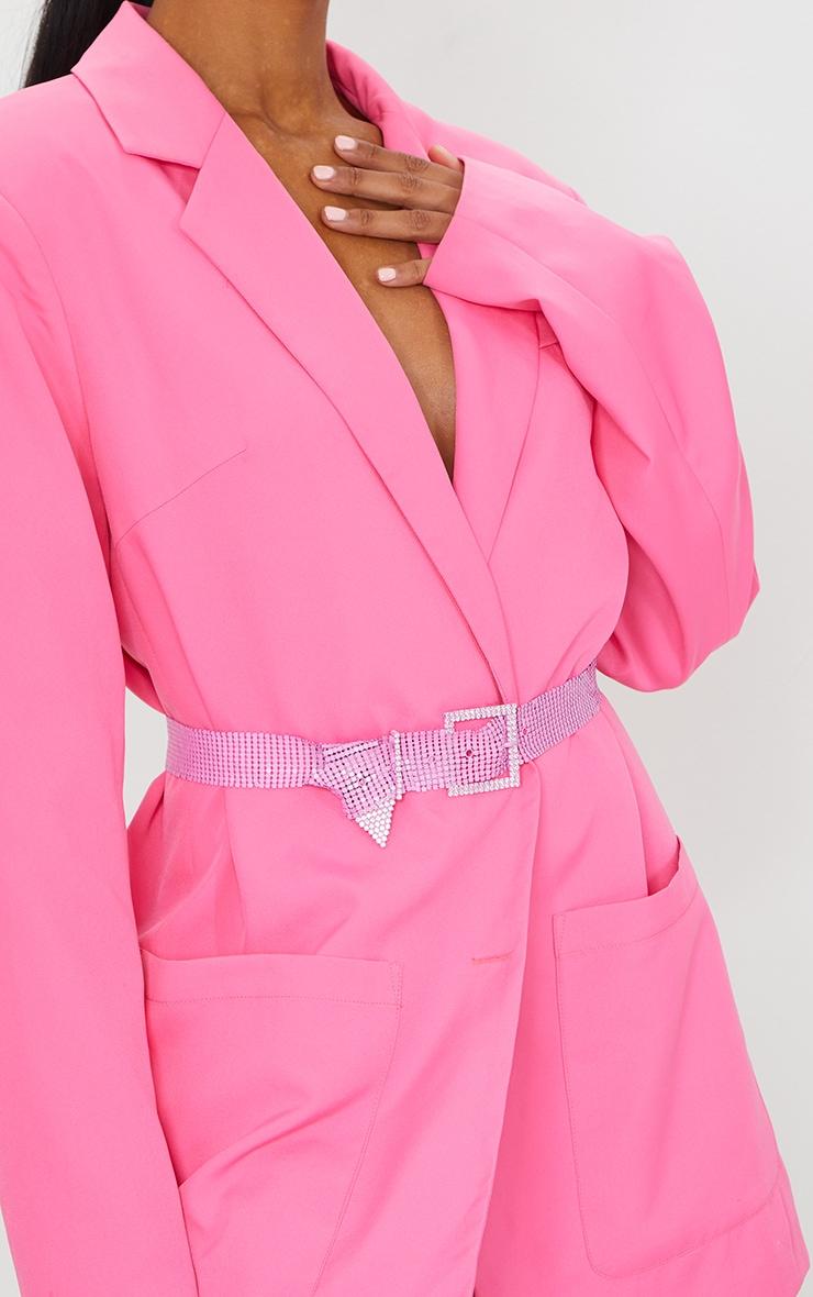 Pink Chain Link Diamante Buckle Waist Belt 1