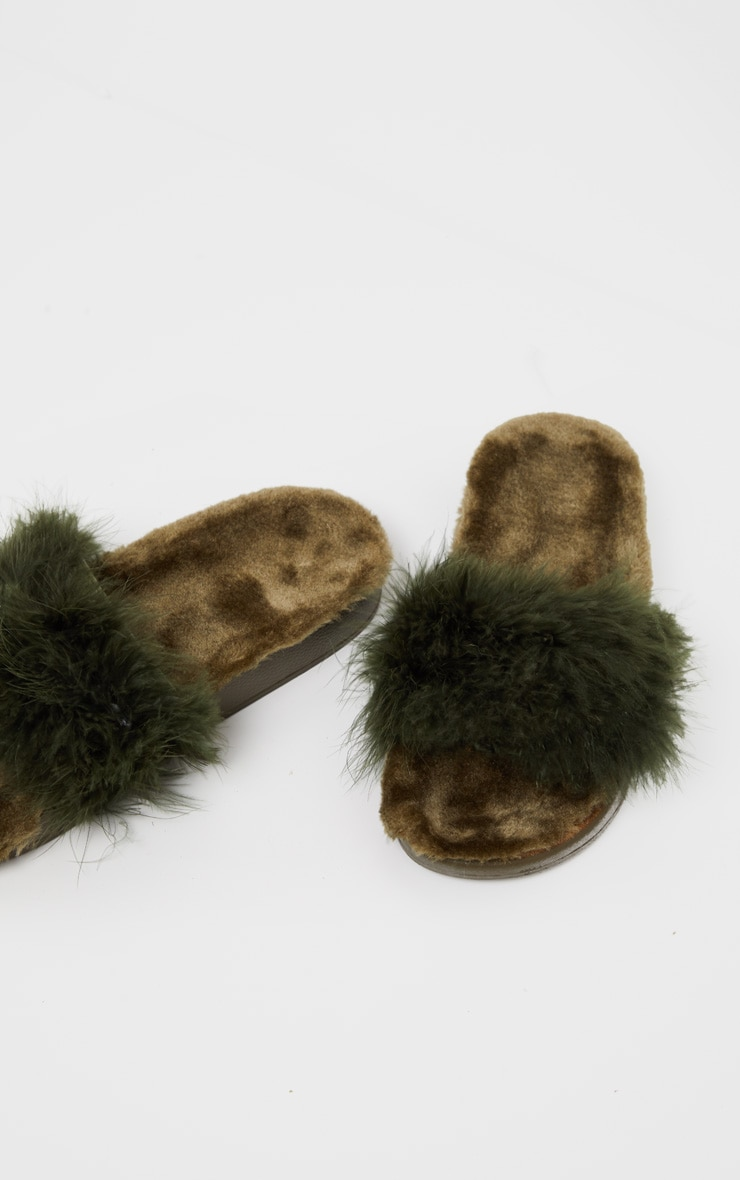 Forest Green Feather Slides 4