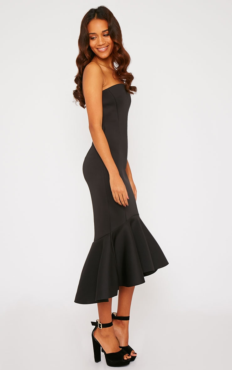 Aisha Black Bandeau Fish Tail Dress 3