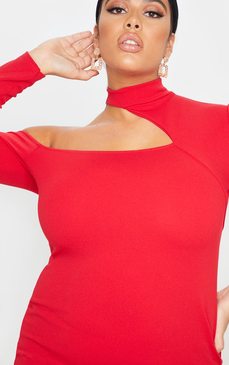 Plus Red Crepe One Shoulder Choker Bodycon Dress 5