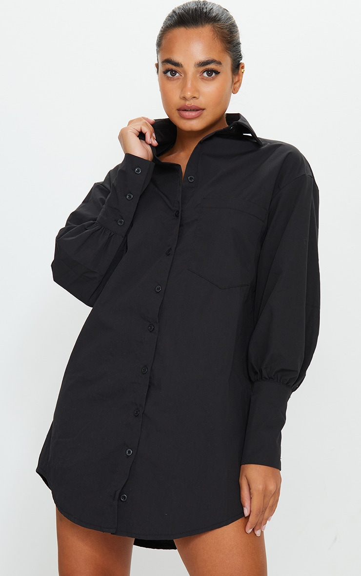 Petite Black Oversized Cuff Shirt Dress 1