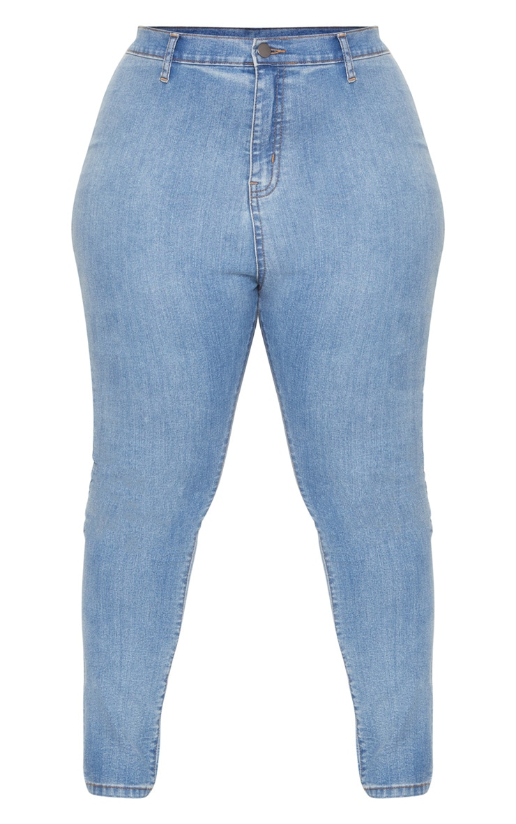 Plus Light Wash High Waisted Skinny Jeans 3