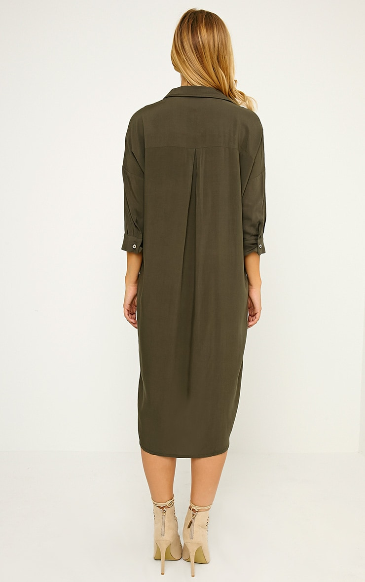 Perrin Khaki Longline Shirt Dress 2