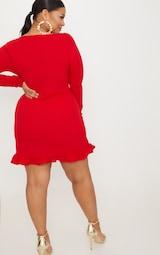 Plus Red Ruffle Detail Wrap Dress 2